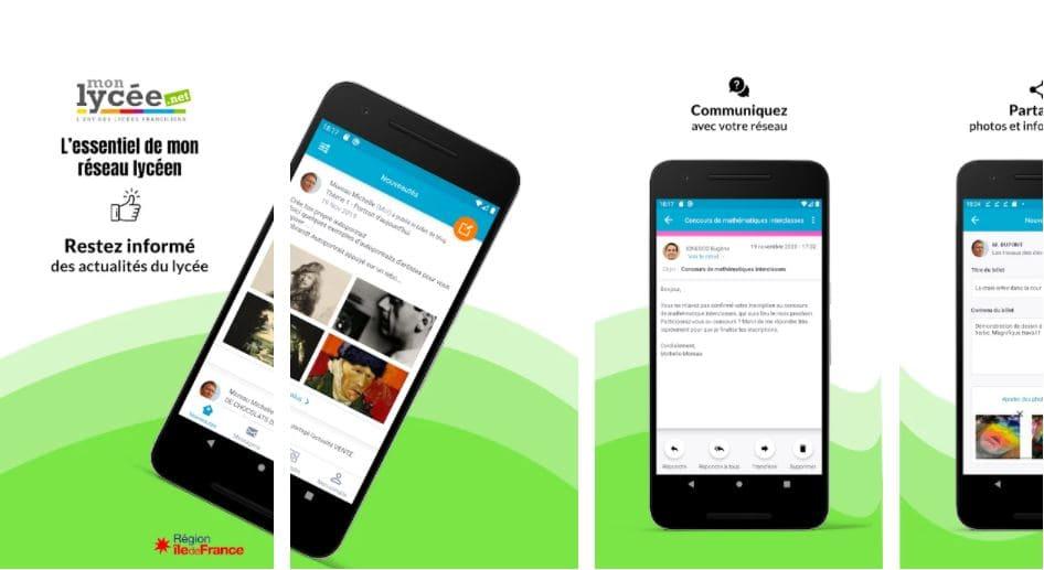 application mobile mon lycee net pour la région Ile de France
