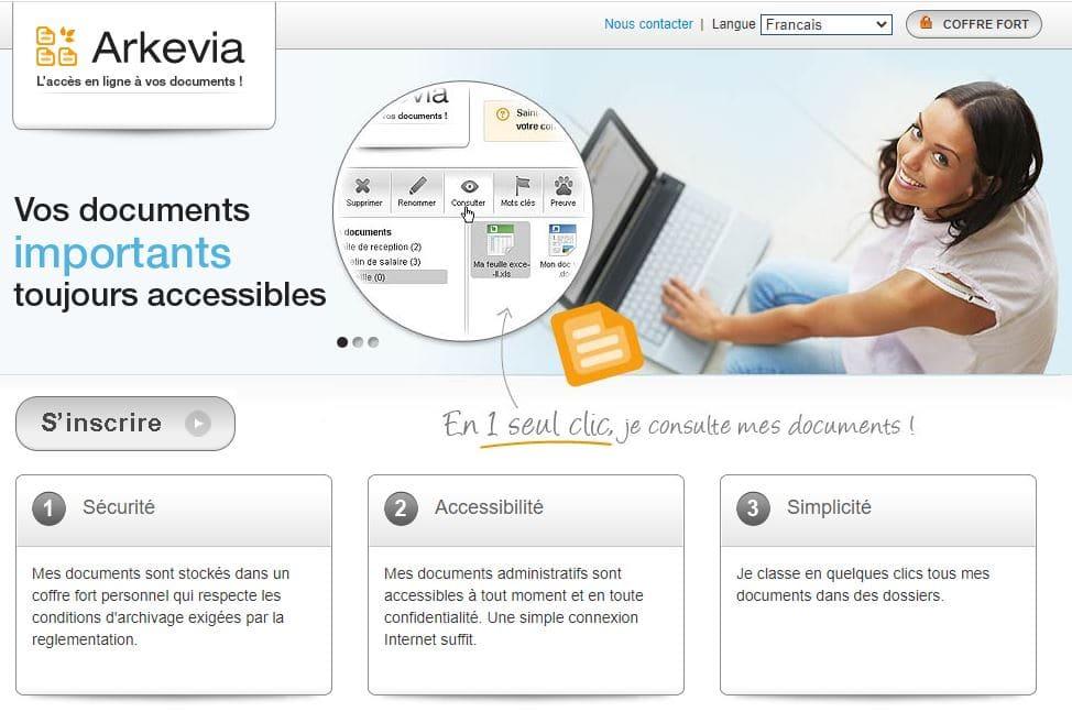 l'accès en ligne aux documents sécurisés via Arkevia